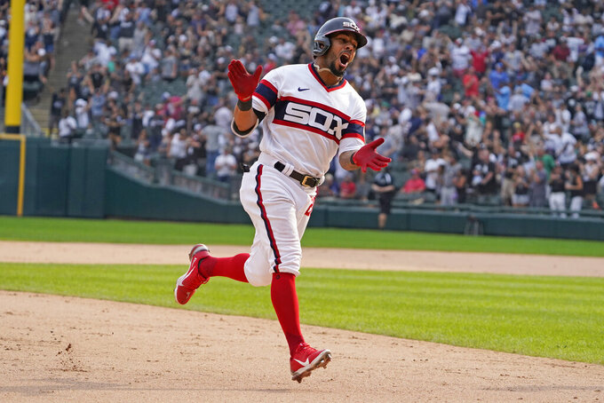 Chicago White Sox' Leury Garcia (28) runs the bases after hitting a walk-off home run during the ninth inning against the Boston Red Sox in a baseball game, Sunday, Sept. 12, 2021, in Chicago. (AP Photo/David Banks)