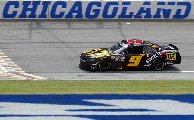 Noah Gragson drives on the track during a NASCAR Xfinity Series auto race practice at Chicagoland Speedway in Joliet, Ill., Friday, June 28, 2019. (AP Photo/Nam Y. Huh)