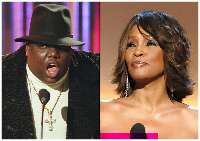 This combination photo shows Notorious B.I.G., who won rap artist and rap single of the year, during the annual Billboard Music Awards in New York on Dec. 6, 1995, left, and singer Whitney Houston at the BET Honors in Washington on Jan. 17, 2009. Houston and the Notorious B.I.G. are among the inductees to the Rock and Roll Hall of Fame's 2020 class. (AP Photo)