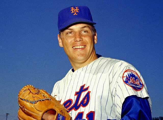FILE - In this March 1968 file photo, New York Mets pitcher Tom Seaver poses for a photo, location not known. Seaver, the galvanizing leader of the Miracle Mets 1969 championship team and a pitcher who personified the rise of expansion teams during an era of radical change for baseball, has died. He was 75. The Hall of Fame said Wednesday night, Sept. 2, 2020, that Seaver died on Aug. 31 from complications of Lewy body dementia and COVID-19. (AP Photo, File)