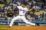 Los Angeles Dodgers starting pitcher David Price throws to a Pittsburgh Pirates during the second inning of a baseball game Tuesday, Aug. 17, 2021, in Los Angeles. (AP Photo/Marcio Jose Sanchez)