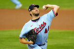 Minnesota Twins pitcher Rich Hill throws against the Cleveland Indians in the first inning of a baseball game Saturday, Sept. 12, 2020, in Minneapolis. (AP Photo/Jim Mone)