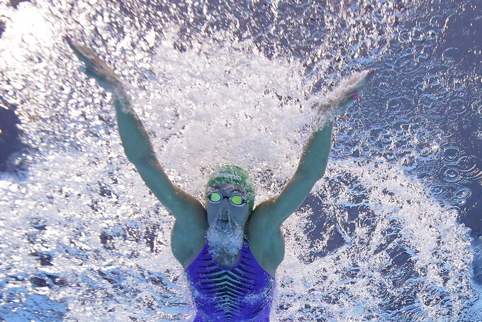 South Africa's Tatjana Schoenmaker competes in a 100-meter breaststroke semifinal at the 2020 Summer Olympics, Monday, July 26, 2021, in Tokyo. (AP Photo/David J. Phillip)
