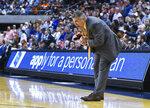 Auburn head coach Bruce Pearl reacts to a play during the final minute of an NCAA college basketball game against Kentucky Saturday, Jan. 19, 2019, in Auburn, Ala. (AP Photo/Julie Bennett)