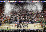 Virginia players celebrate after defeating Texas Tech 85-77 in the overtime in in the championship of the Final Four NCAA college basketball tournament, Monday, April 8, 2019, in Minneapolis. (AP Photo/Matt York)