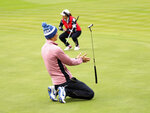 Anne Van Dam of Europe reacts after missing a putt on the 9th green during the Foursomes match against the U.S in the Solheim Cup at Gleneagles, Auchterarder, Scotland, Saturday, Sept. 14, 2019. (AP Photo/Peter Morrison)