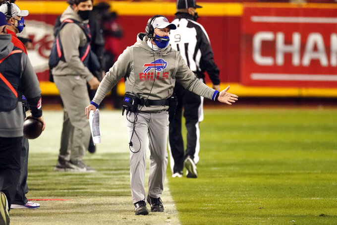 Buffalo Bills head coach Sean McDermott reacts on the sideline during the first half of the AFC championship NFL football game against the Kansas City Chiefs, Sunday, Jan. 24, 2021, in Kansas City, Mo. (AP Photo/Charlie Riedel)