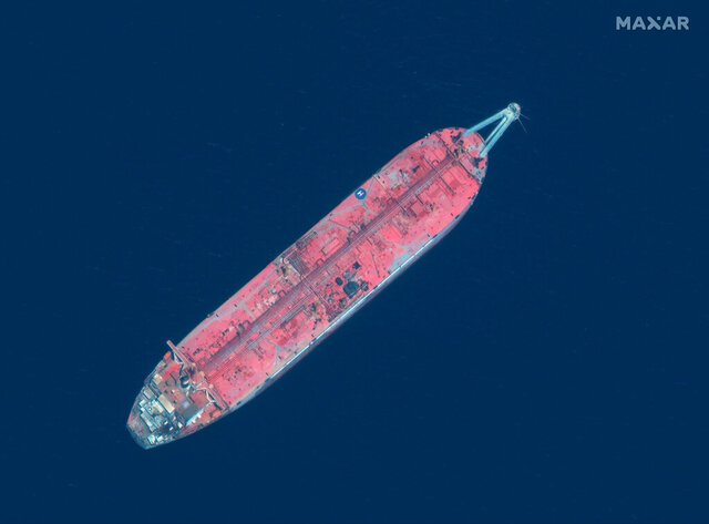 This satellite image provided by Manar Technologies taken June 17, 2020, shows the FSO Safer tanker moored off Ras Issa port, in Yemen. Houthi rebels are blocking the United Nations from inspecting the abandoned oil tanker loaded with more than one million barrels of crude oil. UN officials and experts fear the tanker could explode or leak, causing massive environmental damage to Red Sea marine life. (Maxar Technologies via AP)