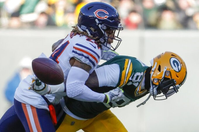 Chicago Bears' Buster Skrine breaks up a pass intended for Green Bay Packers' Geronimo Allison during the first half of an NFL football game Sunday, Dec. 15, 2019, in Green Bay, Wis. (AP Photo/Matt Ludtke)