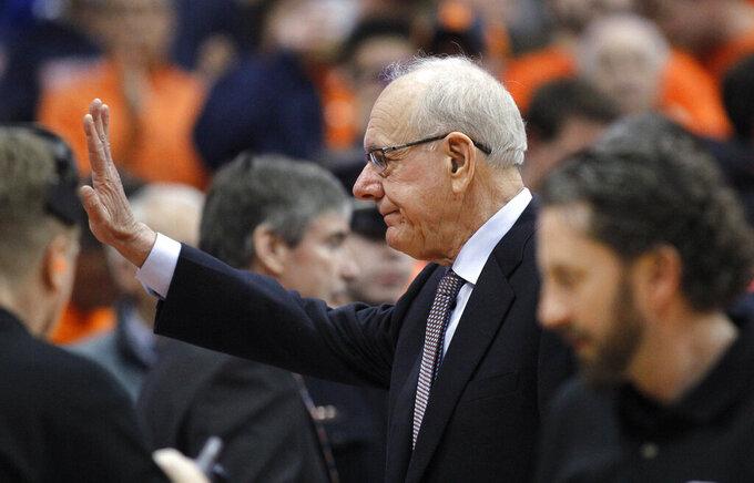 Syracuse coach Jim Boeheim waves before the team's NCAA college basketball game against Duke in Syracuse, N.Y., Saturday, Feb. 23, 2019. (AP Photo/Nick Lisi)