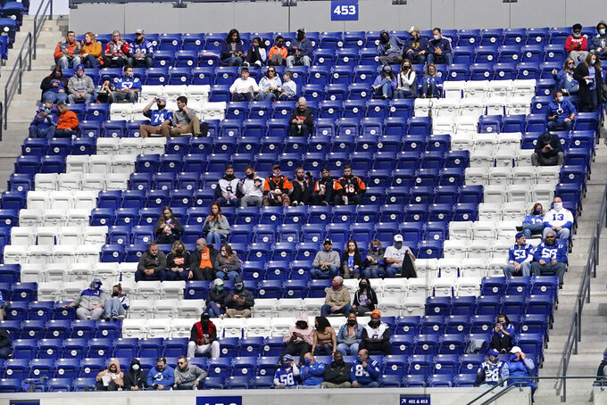 Fans watch the first half of an NFL football game between the Indianapolis Colts and the Cincinnati Bengals, Sunday, Oct. 18, 2020, in Indianapolis. (AP Photo/AJ Mast)