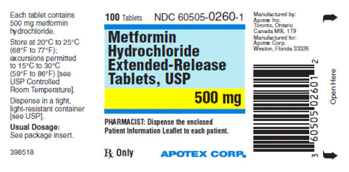 This image made available by the U.S. Food and Drug Administration on Thursday, May 28, 2020 shows a label for the drug metformin. U.S. health regulators are telling five drugmakers to recall versions of the widely used diabetes medication after testing revealed elevated levels of a contaminant linked to cancer in several lots. (FDA via AP)