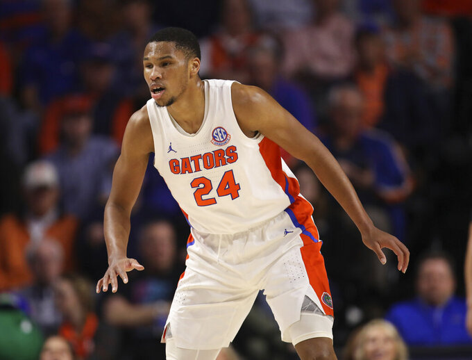 FILE  - In this Jan. 25, 2020, file photo, Florida forward Kerry Blackshear Jr. (24) plays defense against Baylor during the first half of an NCAA college basketball game in Gainesville, Fla. Florida coach Mike White subtly divulges one of the reasons his team was among the biggest disappointments in college basketball last season. The Gators were simply too slow. (AP Photo/Matt Stamey, File)