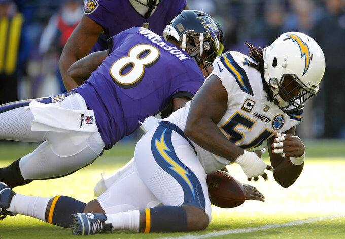 Baltimore Ravens quarterback Lamar Jackson, left, and Los Angeles Chargers defensive end Melvin Ingram chase after possession of a fumble in the first half of an NFL wild card playoff football game, Sunday, Jan. 6, 2019, in Baltimore. Baltimore recovered the ball on the play. (AP Photo/Carolyn Kaster)
