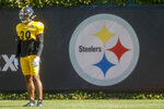 Pittsburgh Steelers newly acquired safety Minkah Fitzpatrick watches between drills during an NFL football practice, Wednesday, Sept. 18, 2019, in Pittsburgh. (AP Photo/Keith Srakocic)