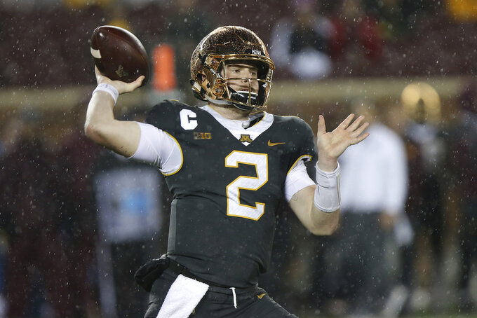 Minnesota quarterback Tanner Morgan during an NCAA college football game against Indiana, Friday, Oct. 26, 2018, in Minneapolis. Minnesota won 38-31. (AP Photo/Stacy Bengs)