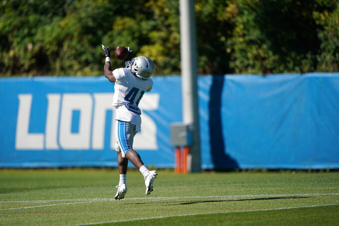 Detroit Lions running back Jason Huntley (41) going for a catch during NFL training camp, Tuesday, Aug. 18 2020 in Detroit. (Detroit Lions Via AP)