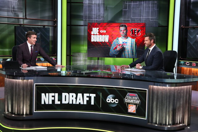 In a photo provided by ESPN Images, Rece Davis, left, and Jesse Palmer discuss the NFL football draft, Thursday, April 23, 2020, in Bristol, Conn. (Allen Kee/ESPN Images via AP)