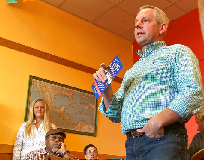 Republican state Rep. Jeff LaRe, a candidate of Ohio's 15th congressional district, speaks to a gathering of Republicans at 3 Brothers Diner in Grove City, Ohio, on Thursday, July 26, 2021. The special election for the seat Tuesday, Aug. 3, has suddenly becoming a high-stakes test of former President Donald Trump's endorsement power.  (AP Photo/Julie Carr Smyth)
