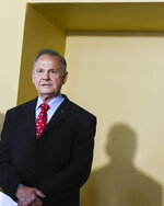 Former Alabama Chief Justice Roy Moore announces his run for the republican nomination for U.S. Senate, Thursday, June 20, 2019, in Montgomery, Ala. (AP Photo/Julie Bennett)