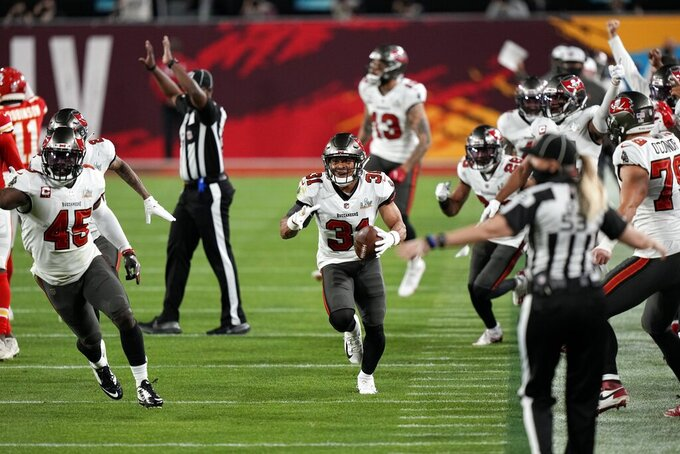Tampa Bay Buccaneers strong safety Antoine Winfield Jr. celebrates after an interception against the Kansas City Chiefs during the second half of the NFL Super Bowl 55 football game Sunday, Feb. 7, 2021, in Tampa, Fla. (AP Photo/David J. Phillip)