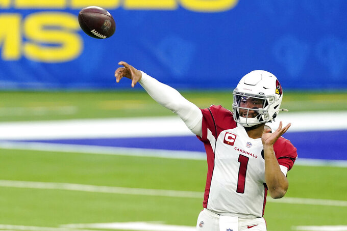 Arizona Cardinals quarterback Kyler Murray (1) throws against the Los Angeles Rams during the second half of an NFL football game Sunday, Jan. 3, 2021, in Inglewood, Calif. (AP Photo/Ashley Landis)