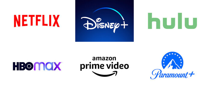 This combination of photos shows logos for popular streaming services, top row from left, Netflix, Disney+, Hulu, bottom row from left, HBO Max, Amazon Prime Video and Paramount+. Nearly 75 percent of U.S. households had a video streaming subscription as of the second quarter of this year. While a third have one service, research shows the average number is 3.8. (Netflix/Disney+/Hulu/HBO Max/Amazon/Paramount+ via AP)