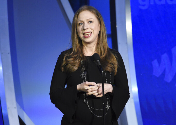 "FILE - Chelsea Clinton speaks at the 30th annual GLAAD Media Awards in New York on May 4, 2019. iHeartMedia announced Tuesday that ""In Fact with Chelsea Clinton,"" hosted by Clinton, the daughter of former President Bill Clinton and former Secretary of State Hillary Clinton, will premier April 13. (Photo by Evan Agostini/Invision/AP, File)"