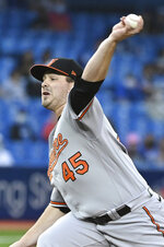 Baltimore Orioles starting pitcher Keegan Akin throws to a Toronto Blue Jays batter during the first inning of a baseball game Tuesday, Aug. 31, 2021, in Toronto. (Jon Blacker/The Canadian Press via AP)