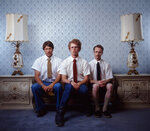 This 2004 photo provided by Twentieth Century Fox and Paramount Pictures shows Jon Gries, as Uncle Rico, from left, Jon Heder, as Napoleon Dynamite, and Aaron Ruell, as Kip, in a scene from movie