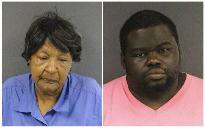 This combination of September 2019 booking photos provided by the Mercer County Prosecutor's Office shows Eudean McMillan, left, and Darryl Parker. The pair are among three people who allegedly took turns shooting a man to death inside a Trenton, N.J. laundromat on Monday, Sept. 16, 2019.  (Mercer County Prosecutors Office via AP)