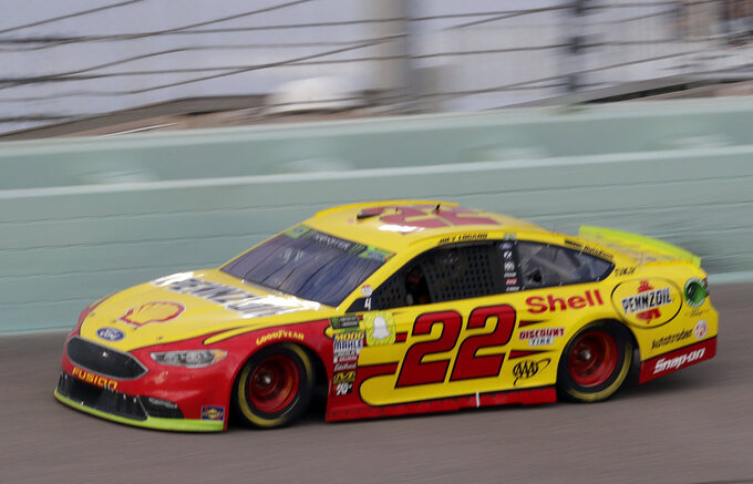 Joey Logano (22) drives on the track during the NASCAR Cup Series Championship auto race at the Homestead-Miami Speedway, Sunday, Nov. 18, 2018, in Homestead, Fla. (AP Photo/Lynne Sladky)