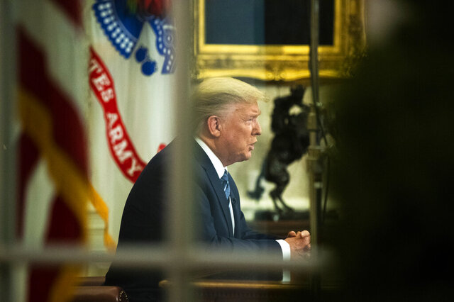 President Donald Trump addresses the nation from the Oval Office at the White House, Wednesday, March 11, 2020, in Washington. (AP Photo/Manuel Balce Ceneta)