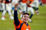 Denver Broncos quarterback Drew Lock (3) celebrates after an NFL football game against the Los Angeles Chargers, Sunday, Nov. 1, 2020, in Denver. The Broncos won 31-30. (AP Photo/Jack Dempsey)