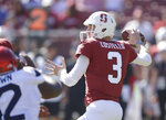 Stanford quarterback K.J. Costello passes against Arizona during the first half of an NCAA college football game Saturday, Oct. 26, 2019, in Stanford, Calif. (AP Photo/Ben Margot)