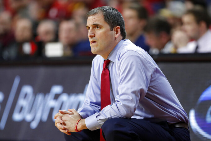 Iowa State head coach Steve Prohm watches from the bench during the first half of an NCAA college basketball game against Oklahoma, Monday, Feb. 25, 2019, in Ames, Iowa. (AP Photo/Charlie Neibergall)