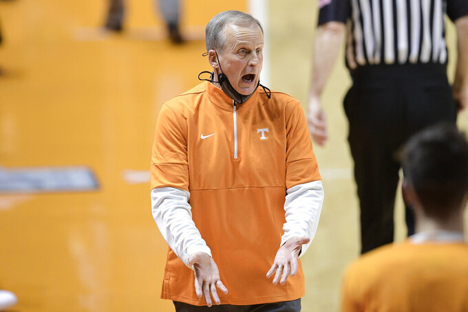 Tennessee head coach Rick Barnes yells during an NCAA college basketball game against Vanderbilt at Thompson-Boling Arena in Knoxville, Tenn., Saturday, Jan. 16, 2021. (Calvin Mattheis/Knoxville News Sentinel via AP, Pool)