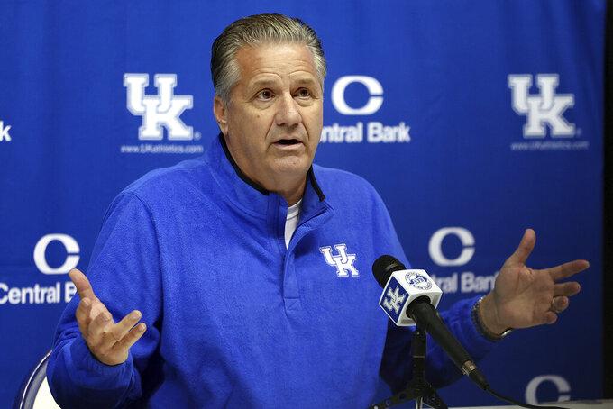 Kentucky coach John Calipari speaks to the press during Kentucky's NCAA college basketball media day in Lexington, Ky., Wednesday, Oct. 20, 2021. (AP Photo/James Crisp)