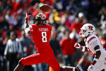 Maryland running back Tayon Fleet-Davis, left, catches a pass for a touchdown in front of Rutgers defensive back Damon Hayes in the first half of an NCAA college football game, Saturday, Oct. 13, 2018, in College Park, Md. (AP Photo/Patrick Semansky)