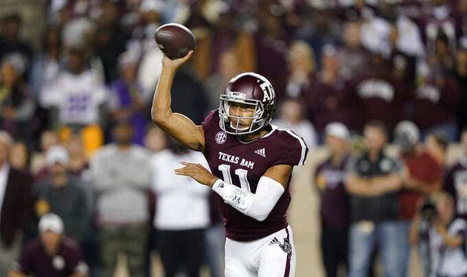 Texas A&M quarterback Kellen Mond throws a pass against LSU during the first half of an NCAA college football game Saturday, Nov. 24, 2018, in College Station, Texas. (AP Photo/David J. Phillip)