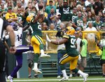 Green Bay Packers' Kevin King intercepts a pass intended for Minnesota Vikings' Stefon Diggs during the second half of an NFL football game Sunday, Sept. 15, 2019, in Green Bay, Wis. (AP Photo/Matt Ludtke)