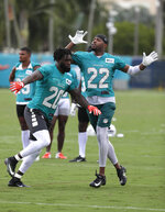 FILE - In this Friday, July 26, 2019, file photo, Miami Dolphins free safety Reshad Jones (20) and strong safety T.J. McDonald (22) do drills during NFL football training camp in Davie, Fla. The core group on defense is expected to include Charles Harris, Davon Godchaux, Tank Carradine and first-round draft pick Christian Wilkins in the line; Kiko Alonso, Jerome Baker and Raekwon McMillan at linebacker; and Xavien Howard, Eric Rowe, Bobby McCain, Minkah Fitzpatrick, McDonald and Jones at safety. (AP Photo/Lynne Sladky, File)