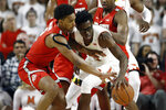 Ohio State guard Musa Jallow, left, steals the ball from Maryland forward Jalen Smith in the first half of an NCAA college basketball game, Saturday, Feb. 23, 2019, in College Park, Md. (AP Photo/Patrick Semansky)