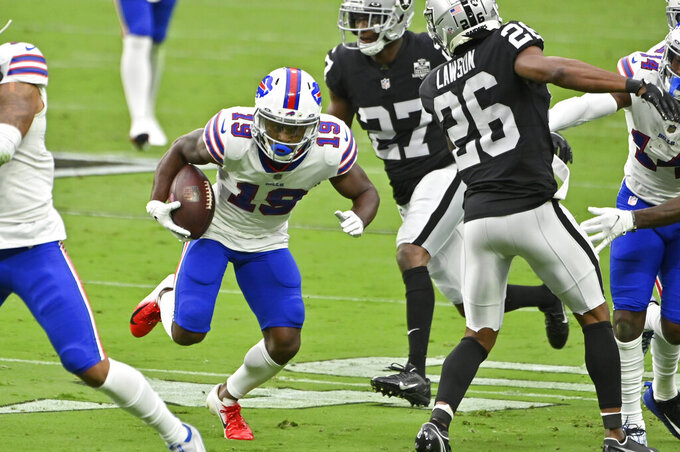 Buffalo Bills wide receiver Isaiah McKenzie (19) runs against the Las Vegas Raiders during the first half of an NFL football game, Sunday, Oct. 4, 2020, in Las Vegas. (AP Photo/David Becker)