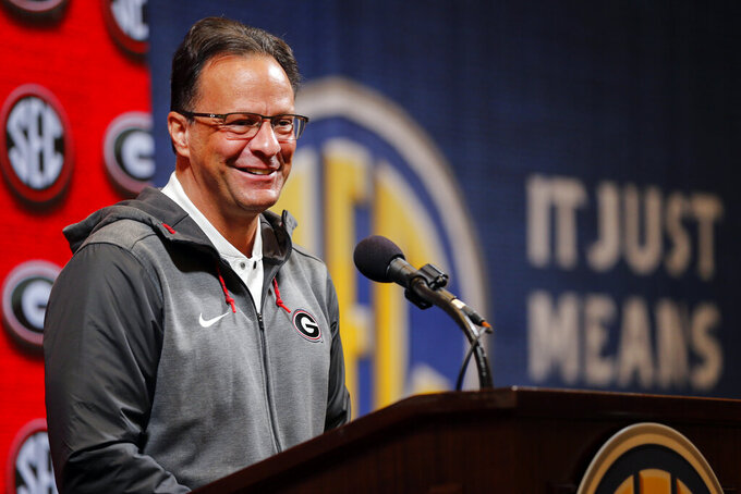 Georgia head coach Tom Crean speaks during the Southeastern Conference NCAA college basketball media day, Wednesday, Oct. 16, 2019, in Birmingham, Ala. (AP Photo/Butch Dill)