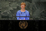 FILE - In this Wednesday, Sept. 26, 2018 file photo, Estonia's President Kersti Kaljulaid addresses the 73rd session of the United Nations General Assembly, at U.N. headquarters. In a sexist remark directed at Estonia's president on Thursday May 2, 2019, Mart Helme, head of the nationalist Estonian Conservative People's Party, criticized President Kersti Kaljulaid for leaving the swearing-in ceremony when Kuusik took the oath of office, telling reporters