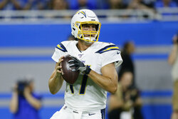 Los Angeles Chargers quarterback Philip Rivers throws in the first half of an NFL football game in Detroit, Sunday, Sept. 15, 2019. (AP Photo/Duane Burleson)