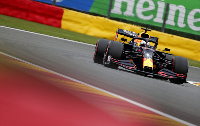 Red Bull driver Max Verstappen of the Netherlands steers his car during the first practice session prior to the Formula One Grand Prix at the Spa-Francorchamps racetrack in Spa, Belgium Friday, Aug. 28, 2020. (Stephanie Lecocq, Pool via AP)