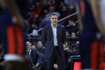 Virginia head coach Tony Bennett watches his players during the first half of an NCAA college basketball game against Boston College Tuesday, Jan. 7, 2020 in Boston. (AP Photo/Charles Krupa)