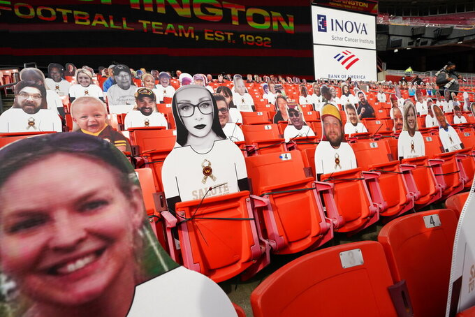 Salute to Service tributes are seen on fan cut-outs in seating areas of FedEx Field before the start of an NFL football game between the Cincinnati Bengals and Washington Football Team, Sunday, Nov. 22, 2020, in Landover, Md. (AP Photo/Andrew Harnik)